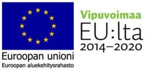 EU-lippulogo ja Vipuvoimaa EU:lta -logo, josta linkki rakennerahaston verkkosivulle